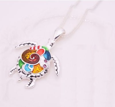 """resell for 21.00 or more 19"""" silver tone chain Enameled Turtle Necklace/ Multi Color.  1 1/2"""" x 1 3/4"""" Style #ETN120818"""