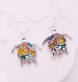 """resell for 18.00 or more Enameled Turtle Earrings/ Multi color 1"""" x 1"""" Style #ETE120818"""