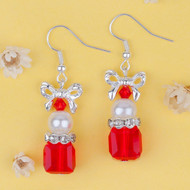 """resell for 9.00 or more Glass Earrings Silver Plated Bowknot Christmas Red Square Clear Rhinestone White Acrylic Imitation Pearl 45mm(1 6/8"""") x 15mm( 5/8"""") Style #CGE121318"""