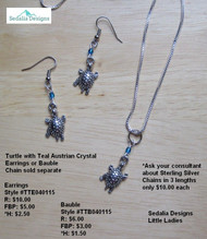 Turtle with Teal Austrian crystal earrings; bauble & chain sold separately