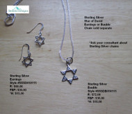 Sterling Silver Star of David Bauble; earrings & chain sold separately