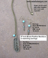 Brass feather & turquoise magnesite Earrings