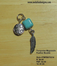 Turquoise Magnesite Feather Bauble
