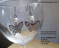 Gunmetal butterfly earrings