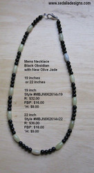 Black Obsidian & Jade Men's Necklace