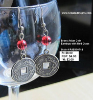 Brass Asian Coin earrings