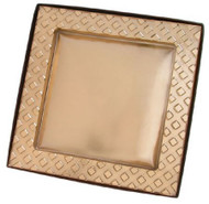 7 X 7 X 5/8 BROWN BOX W/SQUARE GOLD INSERT