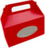 "RED FOLDING TOTE BOX w/WINDOW 6-3/8"" x 3"" x 3-1/2""--PKG/25"