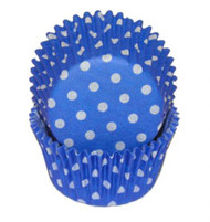 "POLKA DOT BKG CUP BLUE--2"" Base, 1-1/4"" Wall---PKG/500"