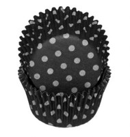 "POLKA DOT BKG CUP BLACK--2"" Base, 1-1/4"" Wall---PKG/500"