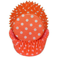"POLKA DOT BKG CUP ORANGE--2"" Base, 1-1/4"" Wall---PKG/500"