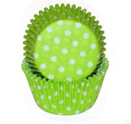 "POLKA DOT BKG CUP  LIME--2"" Base, 1-1/4"" Wall---BOX/500"