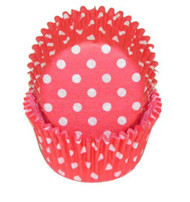 "POLKA DOT BKG CUP RED--2"" Base, 1-1/4"" Wall---PKG/500"