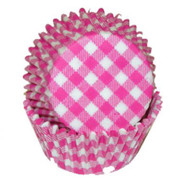 "GINGHAM HOT PINK BKNG CUP--2"" Base, 1-1/4"" Wall- --PKG/500"