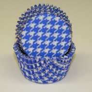 "BLUE HOUNDSTOOTH BAKING CUP BLUE--2"" Base, 1-1/4"" Wall--PKG/500"
