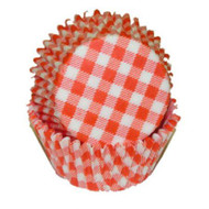 "GINGHAM ORNG MINI BKG CUP-1-1/2"" Base, 3/4"" Wall--PKG/500"