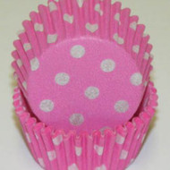 "PINK POLKA DOT MINI BAKING CUP-1-1/2"" Base, 3/4"" Wall--PKG/500"