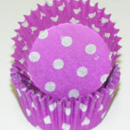 "PURPLE POLKA DOT MINI BAKING CUP-1-1/2"" Base, 3/4"" Wall--PKG/500"