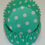 "GREEN POLKA DOT MINI BAKING CUP-1-1/2"" Base, 3/4"" Wall--PKG/500"