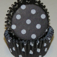 "BLACK POLKA DOT MINI BAKING CUP-1-1/2"" Base, 3/4"" Wall--PKG/500"