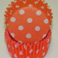 "ORANGEPOLKA DOT MINI BAKING CUP-1-1/2"" Base, 3/4"" Wall--PKG/500"