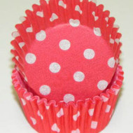 "RED POLKA DOT MINI BAKING CUP-1-1/2"" Base, 3/4"" Wall--PKG/500"