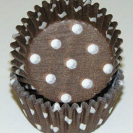 "BROWN POLKA DOT MINI BAKING CUP BROWN-1-1/2"" Base, 3/4"" Wall--PKG/500"