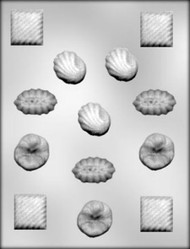 "1-1/2"" - 1-3/4"" ASSORTED FANCY SHAPES CHOCOLATE CANDY MOLD"