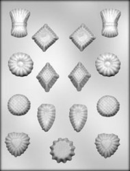 "1-1/4"" - 1-3/4"" ASSORTED SHAPE CHOCOLATE CANDY MOLD"