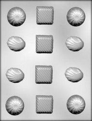 "1-3/8"" ASSTD FANCY PIECES CHOCOLATE CANDY MOLD"