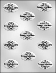 """1-7/8"""" OVAL CONGRATULATIONS CHOCOLATE CANDY MOLD"""