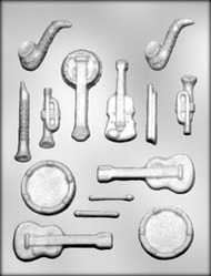 "7/8"" - 3-3/8"" MUSIC INSTRUMENT CHOCOLATE CANDY MOLD"