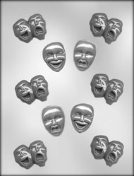 "1-3/4"" COMEDY/TRAGEDY MASK CHOCOLATE CANDY MOLD"