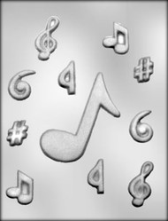 "1-1/8"" - 4"" MUSIC NOTE ASSTMT CHOCOLATE CANDY MOLD"