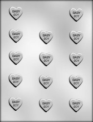 "1"" BABY BOY HEART CHOCOLATE CANDY MOLD"