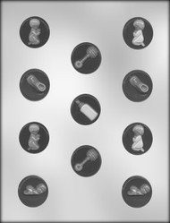 """1-1/4"""" BABY MINT ASST CHOCOLATE CANDY MOLD"""