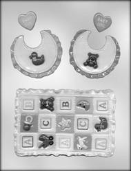 """5"""" BABY QUILT & BIB CHOCOLATE CANDY MOLD"""