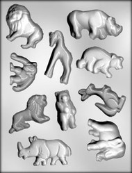 """2"""" - 3-1/8"""" ZOO ANIMAL ASSTMT CHOCOLATE CANDY MOLD"""