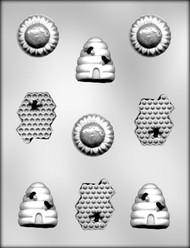 "1-5/8"" - 2"" BEE ASSORTMENT CHOCOLATE CANDY MOLD"