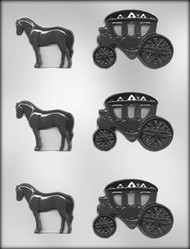 "2"" HORSE & CARRIAGE CHOCOLATE CANDY MOLD"