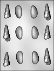 "1-3/4"" - 2-1/4"" 3D SHELL ASSORTMENT CHOCOLATE CANDY MOLD"