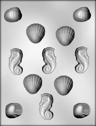 "1-3/8"" - 2"" 3D SHELL ASSORTMENT CHOCOLATE CANDY MOLD"