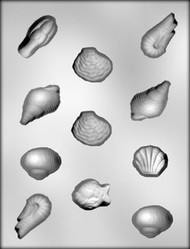 "1-1/4"" - 2"" SEA SHELL ASSORTMT CHOCOLATE CANDY MOLD"
