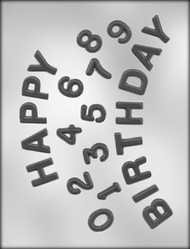 "1"" HAPPY BIRTHDAY/NUMBERS CHOCOLATE CANDY MOLD"