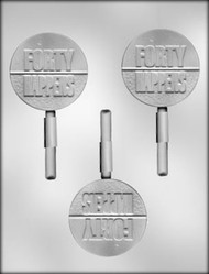 "2-3/4"" FORTY HAPPENS SUCKER CHOCOLATE CANDY MOLD"