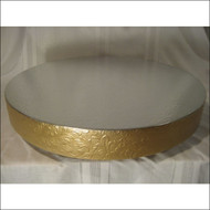 """Gold Floral Leaf"" Cake Stand/Display Base--Choose From 14"", 16"", 18"", 20"" or 22"""