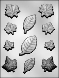 "1-5/16"" - 3-1/8""  LEAF ASSORTMENT CHOCOLATE CANDY MOLD"
