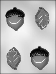"2-3/4"" OAK LEAVES & 3"" ACORNS CHOCOLATE CANDY MOLD"