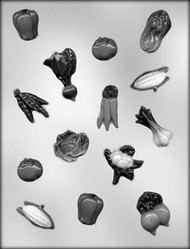 "1"" - 1-3/4"" VEGETABLE ASSORTMENT CHOCOLATE CANDY MOLD"