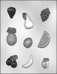 "1-1/2"" - 2-1/2"" MIXED FRUIT ASSORTMT CHOCOLATE CANDY MOLD"